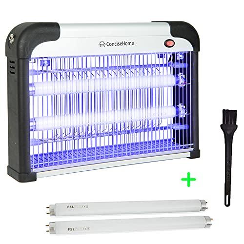 Concise Home XHY-20EU-1 Zanzariera Elettrica Interni, Lampada Anti-zanzara a UV Uccide Le Mosche frantoio Elettrico per Insetti con Una Potenza di 20w (2x10w), con 2 Tubi da 10w Regalo Zanzare