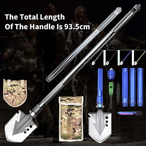 Robasiom Militär-Klappspaten, insgesamt 93,5 cm, 5-in-1-Multifunktionswerkzeug, tragbar, kompakt, taktisch, mit Gürteltasche