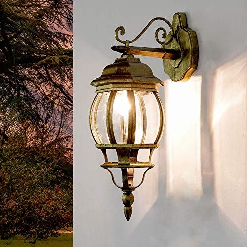 Lámpara exterior rústica Brest en forma de farol dorado E27, IP23, lámpara de pared para jardín, casa, patio