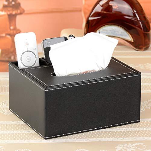 Ansimple ティッシュケース ティッシュボックス 収納ボックス 収納ケース 小物入れ 整理ボックス PUレザー オフィス用品 リビング用品 多機能 インテリア 雑貨 (Bタイプ、ブラック)