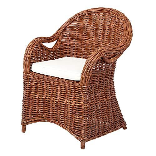LEBENSwohnART Rattan-Sessel Charlotte Natural-Brown mit Sitzkissen Garten Armlehnstuhl Stuhl