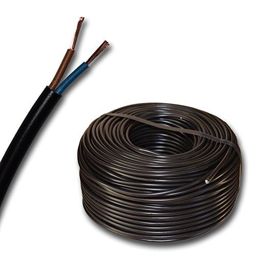 Kunststoff Schlauchleitung rund LED Kabel Leitung Gerätekabel H03VV-F 2x0,75 mm² (mm2) - Farbe: schwarz 10m/15m/20m/25m/30m/35m/40m/45m/50m/55m/60m usw. bis 250 m in 5 Meter Schritten frei wählbar