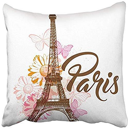 Csoos Fundas de cojín Fundas de cojín Naranja Paris Resumen con Torre Eiffel Flores y Mariposas Funda de cojín Margarita Mancha Rosa