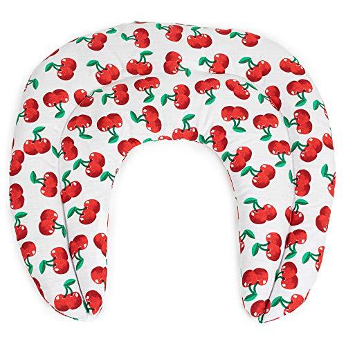 Cuscino cervicale: Cuscinetto ricurvo con tasca - cherry-white - Noccioli di ciliegia - Cuscino per il collo per terapia calde e freddo