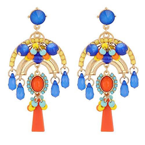 XCWXM Boho style pendant earrings earrings resin beaded earrings for women handmade large pendant earrings fashion jewelry-54830-B u