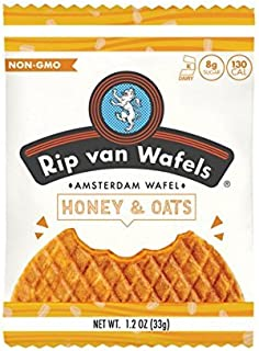 Rip Van Wafels Non-GMO Snack Wafels, Honey and Oat, 48 Count, 55.68 OZ, low calorie & low sugar