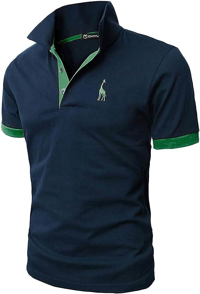 Poloshirt Herren Einfarbig Stickerei Kurzarm Polohemd S-XXL