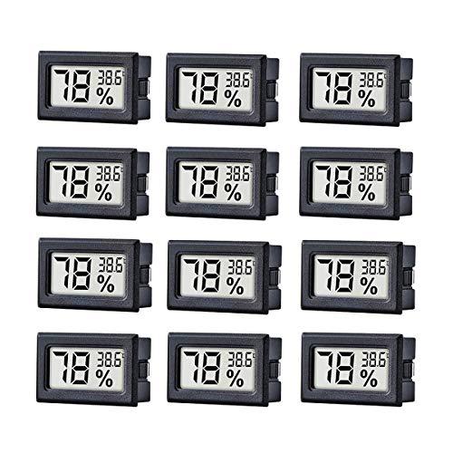 JEDEW 12er-Pack LCD Digital Temperatur-Feuchtigkeitsmesser Thermometer(℃), Mini-Digital-Thermometer Hygrometer und Feuchtigkeitsmesser für Zigarre Gewächshaus/Keller Schrank