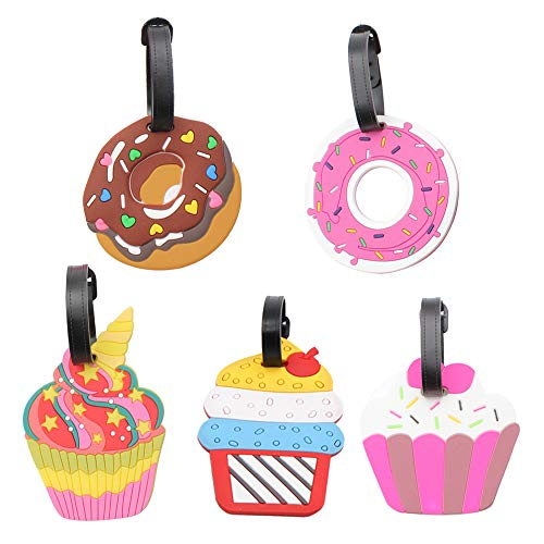 Mziart Colorful Cute Luggage Tags for Women Men Funny Travel Bag Tags Baggage Suitcase Labels Bag Identifier, Set of 5 (Cakes and Donuts)