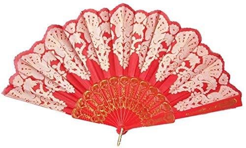 Opvouwbare ventilator,Elegante rode mode opvouwbare gouden blokkerende dansende ventilator Delicate ambachtelijke decoratie Fan Gift