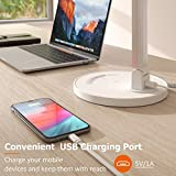 TaoTronics LED Desk Lamp, Eye-caring Table Lamps, Dimmable Office Lamp with USB Charging Port, 5 Lighting Modes with 7 Brightness Levels, Touch Control, White, 12W