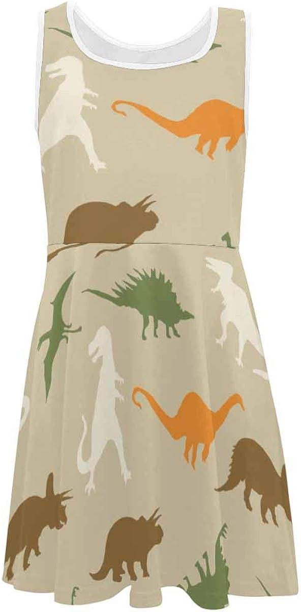 InterestPrint Girls Sleeveless Dress Round Neck Printed Casual Dress for 4-13 Years Dinosaurs Silhouette XL