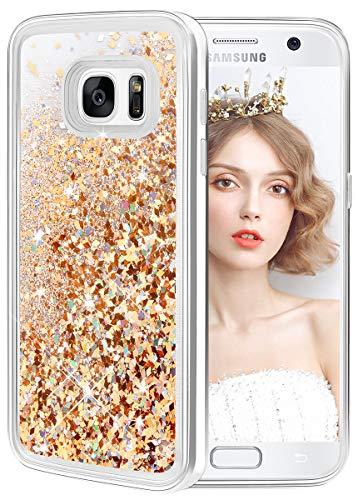 wlooo Glitter Cover Compatibile con Samsung Galaxy S7, Cover Samsung S7, Bling Liquido Custodia Sparkly Luccichio Pendenza TPU Silicone Protettivo Morbido Brillantini Quicksand Case (Oro Argento)