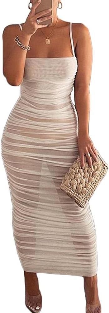 Ayaaa Women's Long Cold Shoulder Dress Women's Elegant Mesh Dress, Suspender Dress for Nightclub Summer New Solid Color