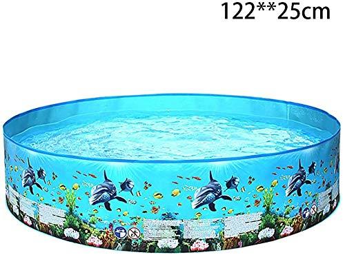 WMMCM Plegable Piscina for niños - Piscina for niños, Mascotas Bañera Verano Piscina con El Mundo Submarino Imprimir portátil al Aire Libre Durable de baño Piscina (Size : 122 * 25)