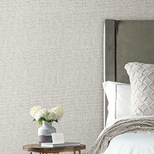 RoomMates Beige Faux Grasscloth Weave Peel and Stick Wallpaper