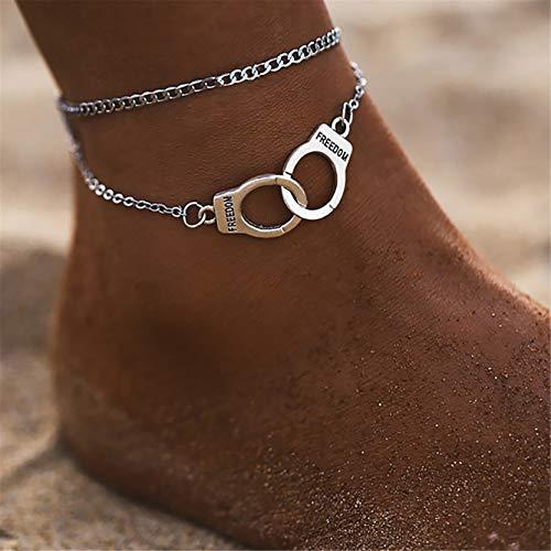 WERR 925 Silber Armreif für Frauen Handschellen Armband Punk Fußkette für Frauen und Mädchen, Silber