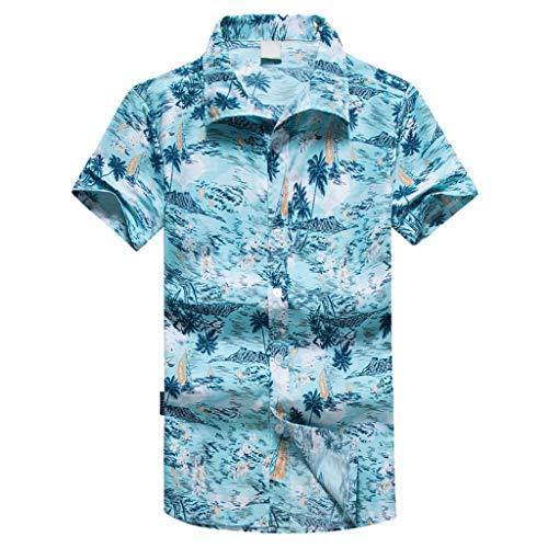 CICIYONER Freizeithemd - Herren Sommer Freizeit Hemd Kurzarm Slim Fit Reise Hawaiihemd für Männer Oversize M-5XL
