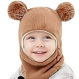 Unisex-Baby Jungen Mädchen Mütze Frühling Winter Beanie Strickmütze mit Schal Niedlich Pompom Wintermütze Babymütze Kindermützen Schnee Hut