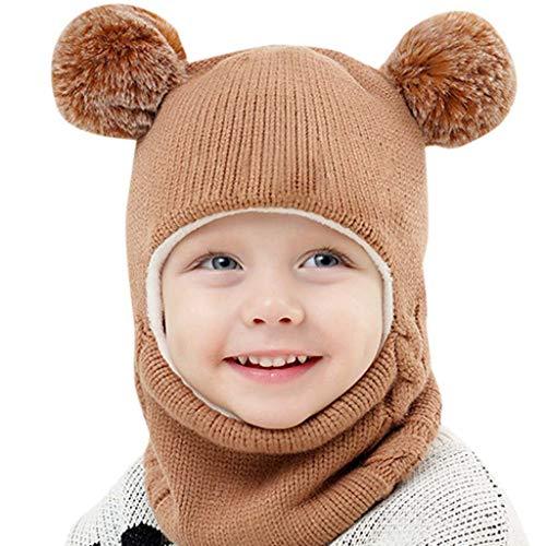 NINGSANJIN Unisex Baby Mütze, Strickmütze Warm Wintermütze, Earflap Hut Kappe Schnee Hut, Schlupfmütze Schalmütze Hündchen