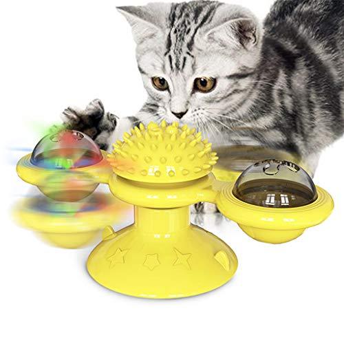 XuHang - Juguete interactivo para gatos con ventosa portátil para molino de viento, cepillo de pelo de silicona suave lavable para decorar patio, césped y jardín