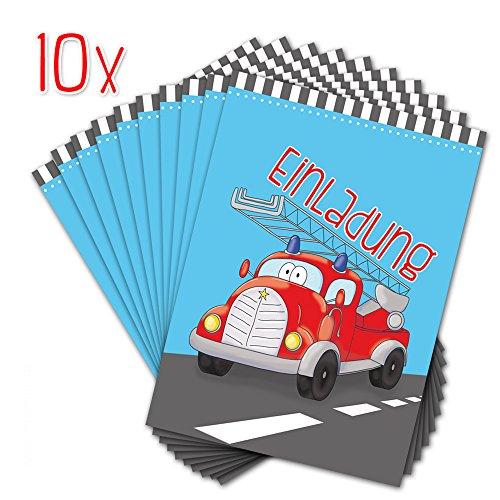 10 EINLADUNGSKARTEN zum Kindergeburtstag FEUERWEHR / FEUERWEHRAUTO / Einladungskarten Jungs