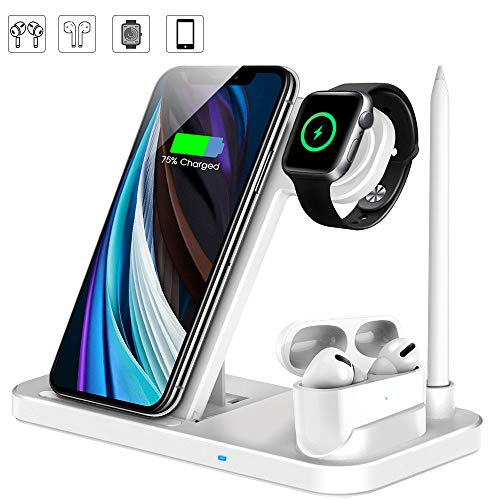 LECHLY Kabelloses Ladegerät,4 in 1 Induktive ladestation Fast Wireless Charger für Apple Watch 5/4/3/2,Airpods Pro,iPhone 11/Pro Max/Se/XS/XR/X/8,Samsung Galaxy S20/S10 (Weiß)