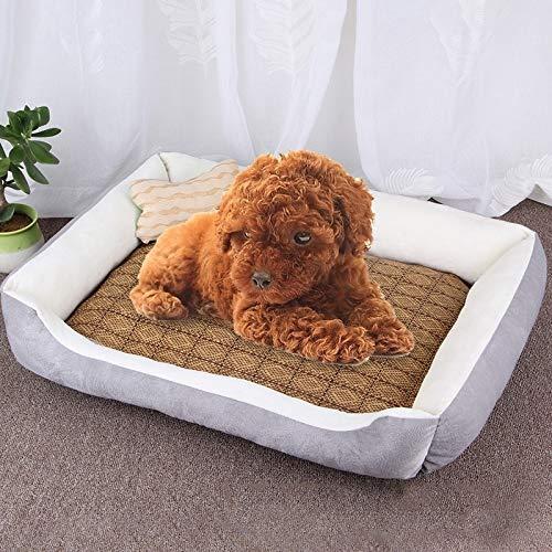 Shufeivicc Patrón de Hueso del Perro Grande Suave Suave del Perro de la Estera del Perro del Perro del Perro, con Estera de ratán Tamaño: L, 80 × 60 × 15cm (Color : Grey White)