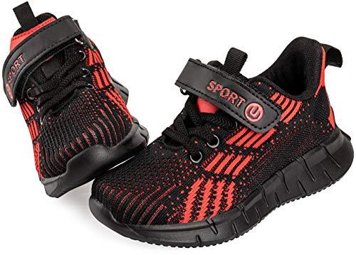 Vunavueya Kinder Laufschuhe Jungen Running Sneakers Mädchen Sportschuhe Freizeit Turnschuhe Low-Top Sports Schuhe Klettverschluss Rot 37 EU(38CN)