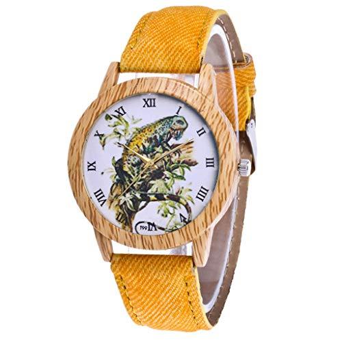 Damen Analog Quarz Uhr mit Leder Armband und Sportuhr Frauen Uhr Gelb 6040