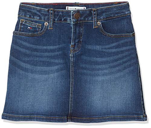 Tommy Hilfiger Mädchen A-line Skirt Spcbst Rock, Blau (Denim 1A5), 104/110 (Herstellergröße: 110)