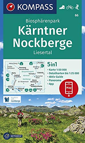 KOMPASS Wanderkarte Biosphärenpark Kärntner Nockberge, Liesertal: 5in1 Wanderkarte 1:50000 mit Panorama, Aktiv Guide und Detailkarten inklusive Karte ... Skitouren. (KOMPASS-Wanderkarten, Band 66)