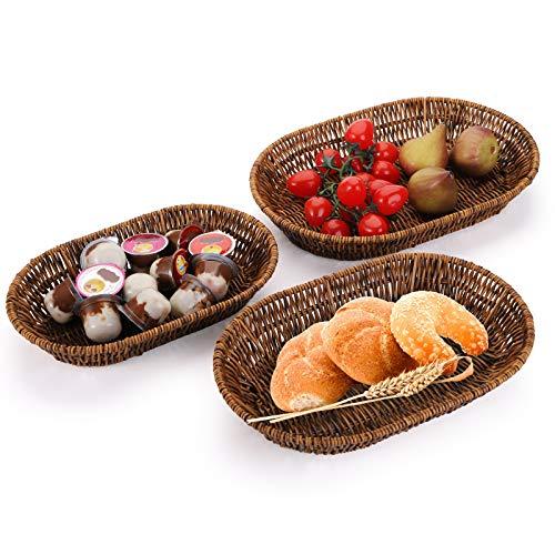 Hedume Set of 3 Wicker Baskets, Tabletop Food Serving Baskets Trays, Handwoven Storage Basket Bin, Fruit Vegetables Sundries Storage Basket for Home, Restaurant, Bakery
