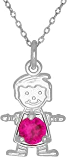 Happy Baby Boy Sterling Silver July Birthstone Pendant Necklace Red Stone and Chain
