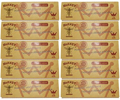 HORNET オーガニックヘンプペーパー 1 1/4 サイズ 10冊セット Organic Hemp Paper 78mm size 無漂白 麻