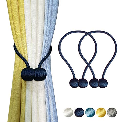 TmppDeco Magnetic Curtain Tiebacks - 2 Pack Curtain Holdbacks Strong Magnetic Curtain Holdbacks, Decorative Window Drape Twist Curtain Ropes for Home and Office (Navy Blue)