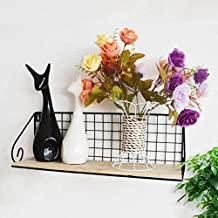 Strong Sturdy Environmental Protection Wooden Storage Rack, Living Room Bedroom Wrought Iron Grid Walls Hanging Shelf (Col...