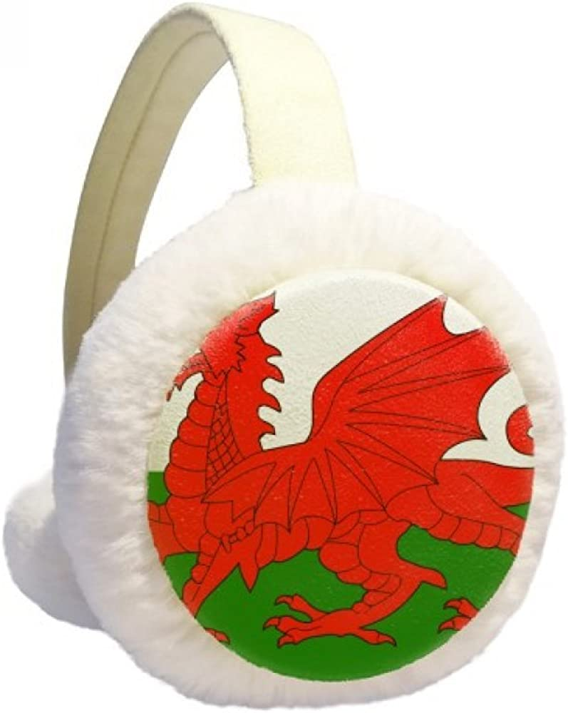 Wales National Flag Europe Country Winter Ear Warmer Cable Knit Furry Fleece Earmuff Outdoor