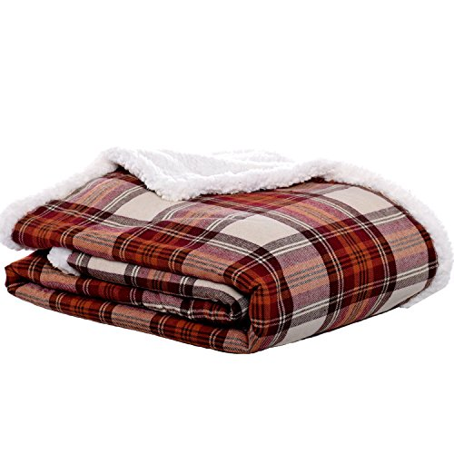 Eddie Bauer | Flannel Collection | Throw Blanket-Reversible Sherpa Fleece Cover, Soft & Cozy, Perfect for Bed or Couch, Edgewood Red