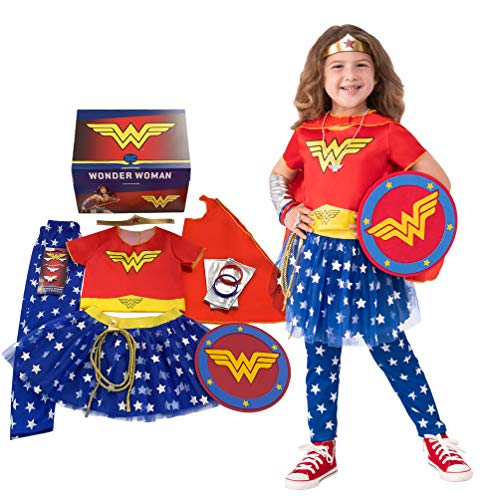Imagine by Rubie's Girl's Wonder Woman Dress-Up and Super Hero Play Trunk, Multi-Costume Role Play, Small