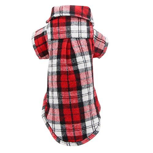 YAODHAOD Camisa Cuadros para Perros, Camisa A Cuadros de Moda para Mascotas Ropa para Perros, Camisa A Cuadros para Gatos Suave y Cómoda (S-Puppy por uno o Dos Meses, Rojo)