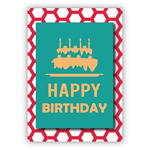 In 5-delige set: Chique moderne, turquoise verjaardagskaart met weelderige verjaardagstaart op rood honingraatpatroon: Happy Birthday
