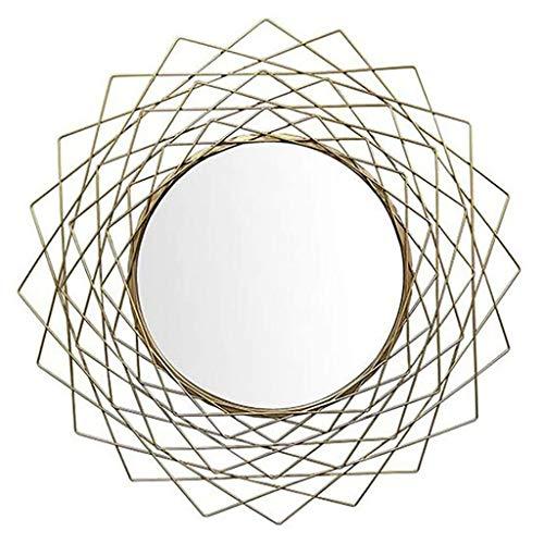 Espejo de pared retro de estilo nórdico, espejo de pared redondo de marco de metal, espejo colgante de pared de oro de 31.5 pulgadas, espejo de la luz del sol Arte de la pared para baños, espejo de ve