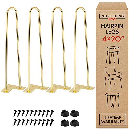 Interesthing Home Heavy Duty Metal Coffee Table Legs with Screws and Hairpin Leg Protector, 20 Inches, Gold, 4 Piece Set
