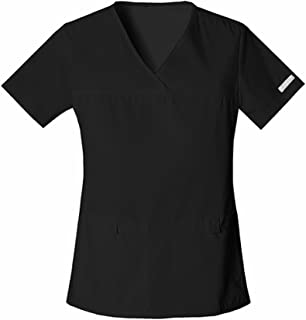 Cherokee Women's Scrubs Flexibles Sporty V-Neck Knit Panel Top