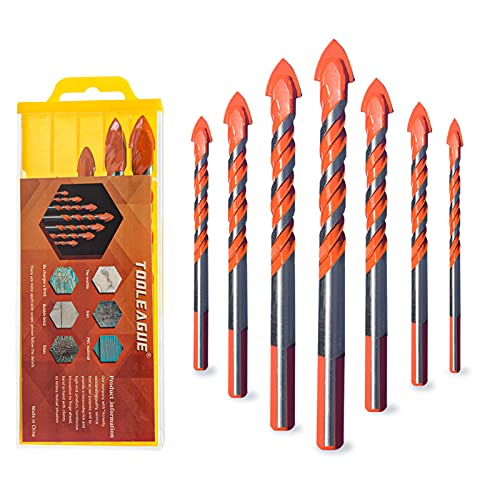 TOOLEAGUE 7 Pcs Multifunction Drill Bits, Masonry Drill Bits Set, Tungsten Carbide Knife for Glass, Brick, Plastic, Cement, Wood, Ceramic, Wall, Tile Punching Hole Working
