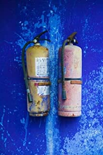 The Poster Corp Panoramic Images – Fire extinguishers on Blue Temple wall Mingshan Fengdu Ghost City Fengdu Yangtze River Chongqing Province China Photo Print (60,96 x 91,44 cm)