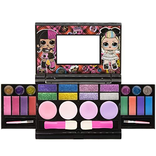 Townley Girl L.O.L Surprise! cosmétiques compactset avec miroir 22 brillants à lèvres, 4 shines corps, 6 brosses coloré marque portable pliable trousse de beauté pour les filles