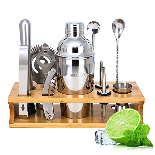 Labeol Cocktail Shaker Set Cocktail Mixing Set Edelstahl Bar Zubehör 12 Teiliges mit Bambus Aufbewahrung für Zuhause Oder die Bar Cocktail Kit Gift Set 550 Ml Cocktail Shaker and Strainer