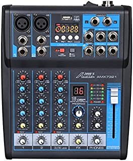 Audio2000'S AMX7321-Professional Four-Channel Audio Mixer with USB Interface, Bluetooth, and DSP Sound Effects (AMX7321)